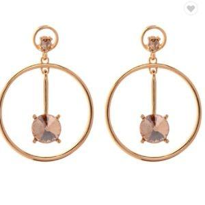 NEW! Gold Drop Hoop Earrings Bronze Stone